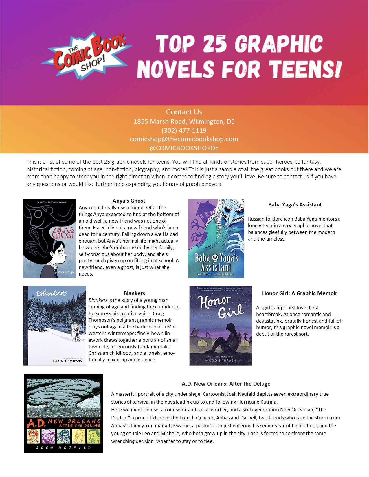 Top 25 Teen Graphic Novels