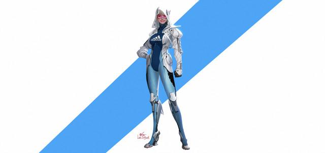 General 3600x1700 Adidas women futuristic cyborg simple background artwork cyberpunk standing