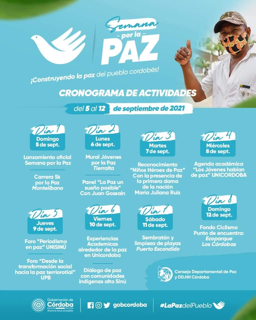 Esta será la agenda de la Semana de la Paz en Córdoba - Noticias de Colombia