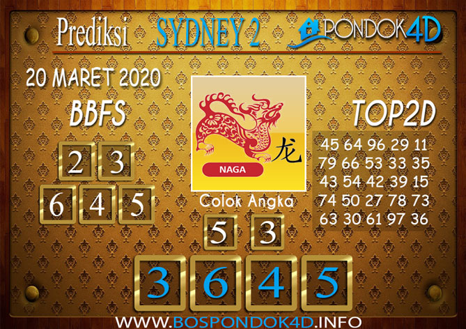 Prediksi Togel SYDNEY 2 PONDOK4D 20 MARET 2020