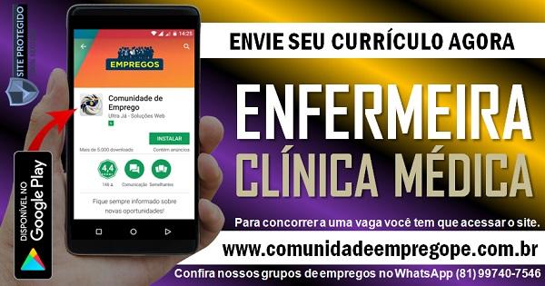 ENFERMEIRA PARA CLINICA MÉDICA CREDENCIADA AO SUS NO RECIFE
