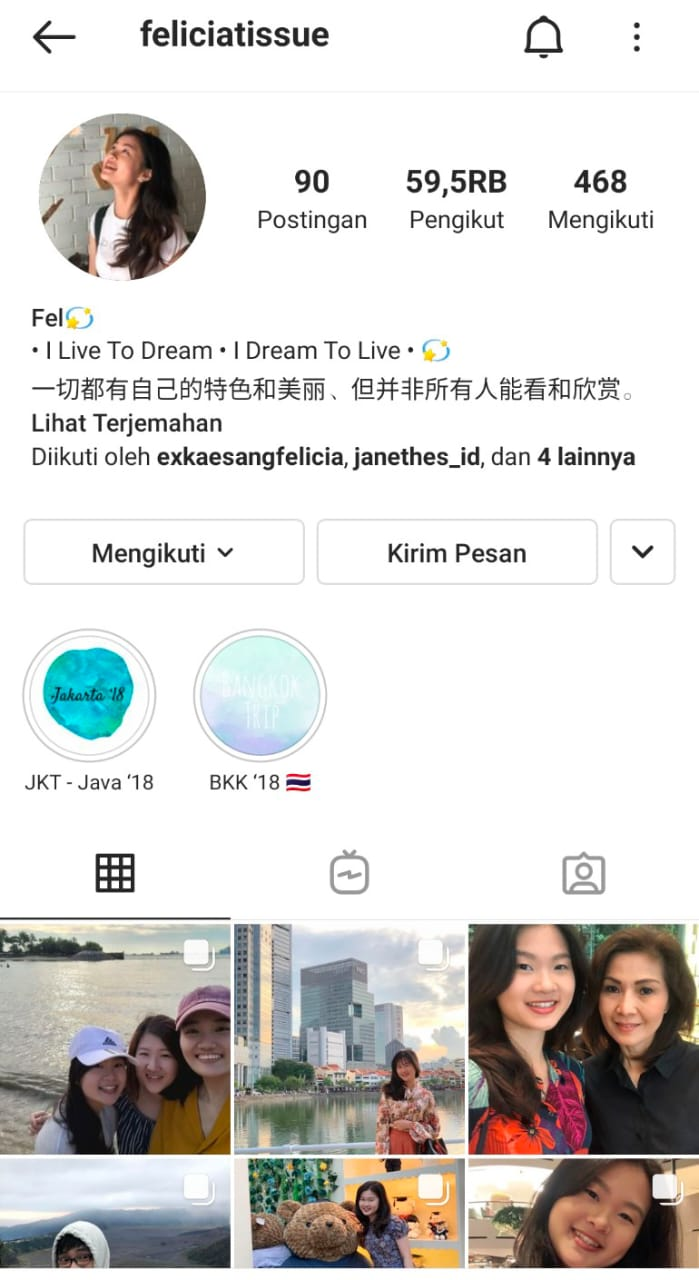 Tangkapan layar Instagram Felicia Tissue