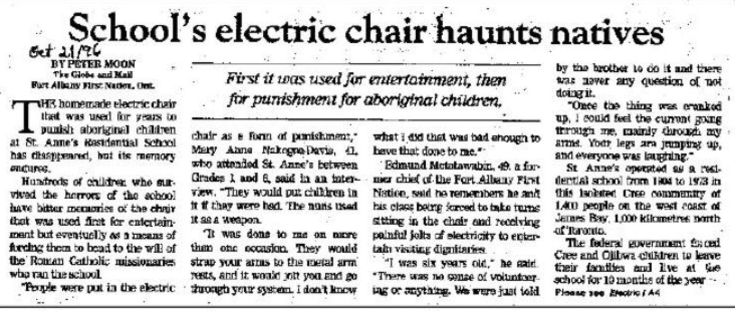 Article on Residential Schools