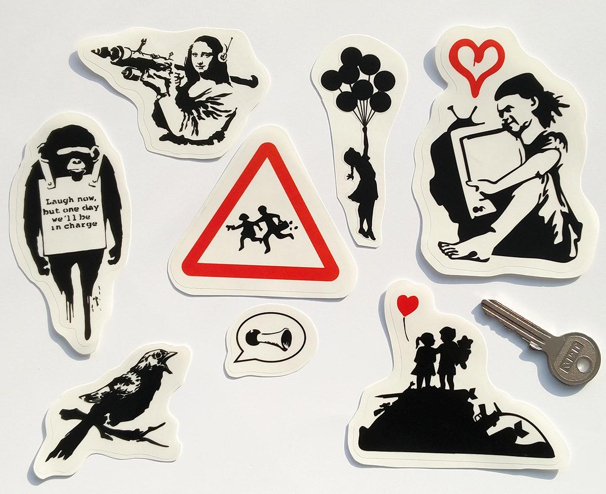 Banksy sticker vinyl decal clear transparent vinyl rat girl balloon street art graffiti artist