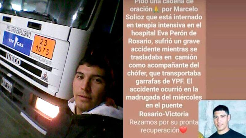 Piden oraciòn por joven camionero Marcelo Solioz ,herido en accidente sobre el puente Victoria-Rosario