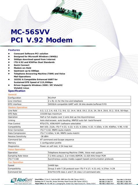 Abocom-Mc56-Svv-Users-Manual503762-User-Guide-Page-1