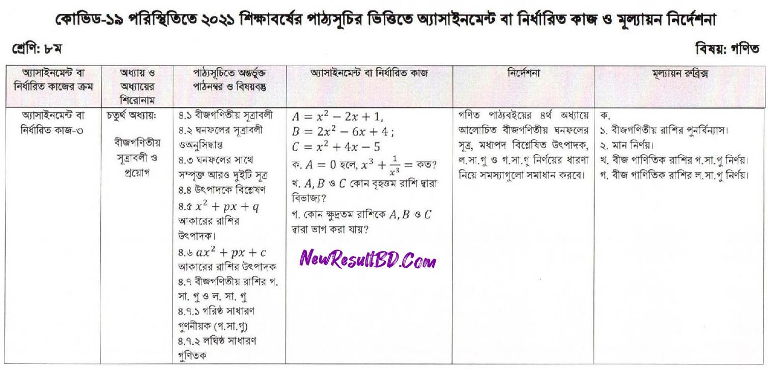 Class 8 13th Week Mathematics Assignment