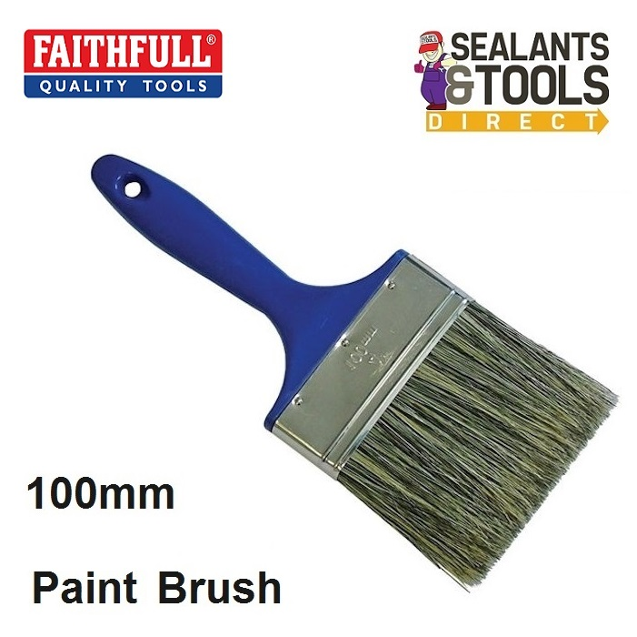 Faithfull Emulsion Shed & Fence Paint Brush 100mm 4 inch