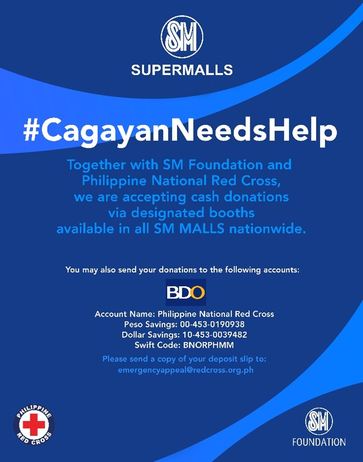 Cagayan needs help. SM Foundation and Philippine National Red Cross launch a donation drive to help the victims of Typhoon Ulysses in Cagayan.