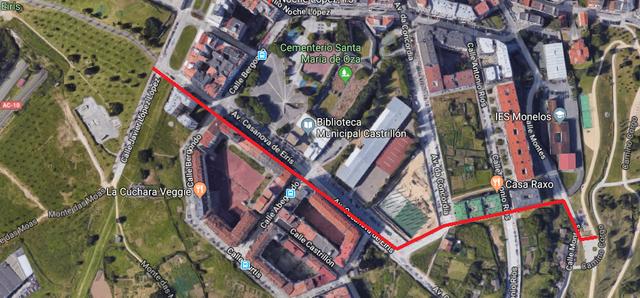 Unión do parque de Eiris co parque de Oza coa creación dun carril bici exento dos carrís vehiculares tradicionais e anexo pero separado das sendas peonís existentes
