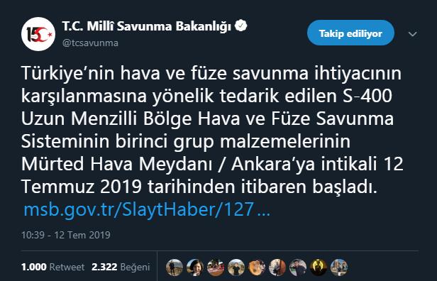 S 400'ler Ankara'da Milli Savunma Bakanlığı'ndan açıklama geldi