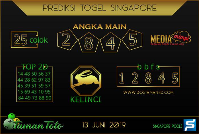 Prediksi Togel SINGAPORE TAMAN TOTO 13 JUNI 2019