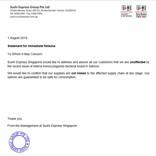 Statement for Immediate Release
