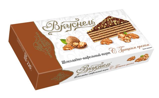 """ვაფლის ტორტი გლაზურით """"ბერძნული კაკალი"""" 220გრ აზბუკა შოკოლადი"""