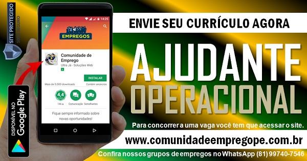 AJUDANTE OPERACIONAL PARA SERVIÇOS TEMPORÁRIO EM EMPRESA DE PRODUÇÃO