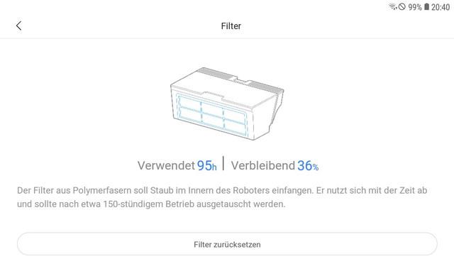 Statusanzeige für Filter wechseln beim Roborock