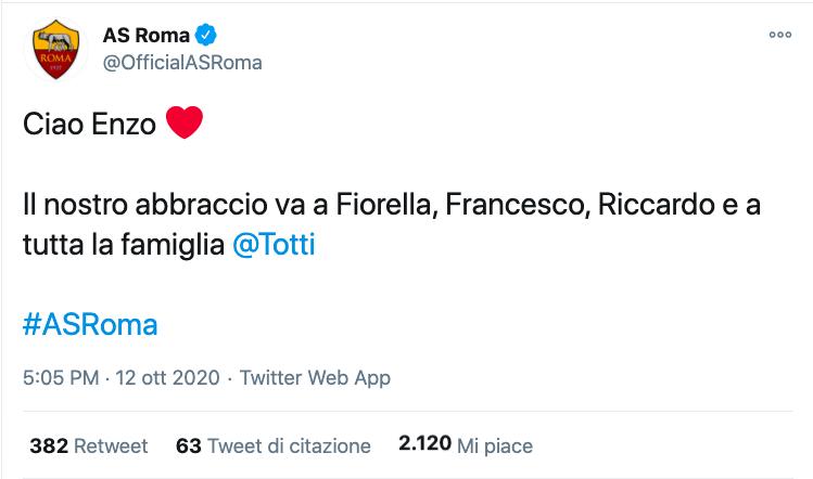 Francesco Totti è morto il papà Enzo