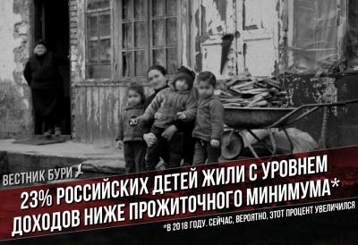 23% российских детей жили с уровнем доходов ниже прожиточного минимума