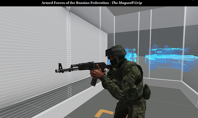 professional russian soldier performing magwell grip in an imaginary world