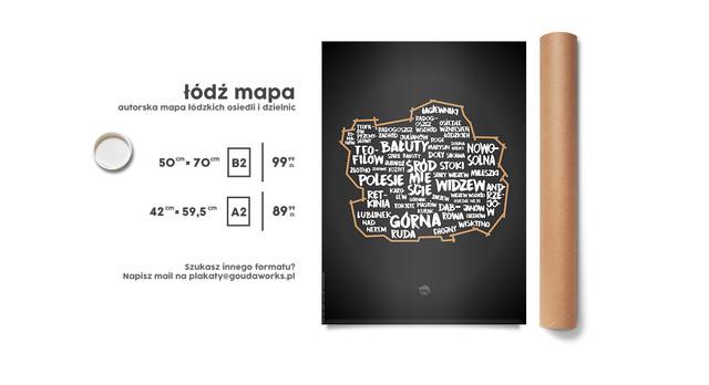 Plakat od Goudy - Łódź mapa