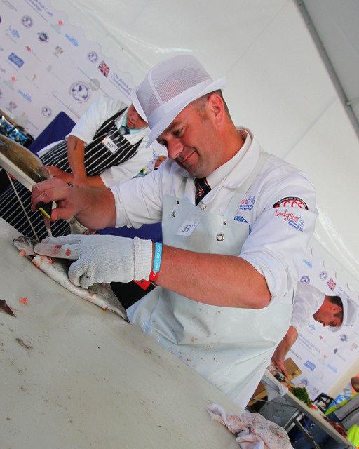 Andrew Barker competing at th British Fish Craft Championship 2019 in Cardiff Bay