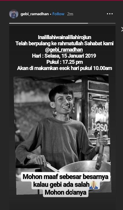 Gebi Ramadhan meninggal dunia