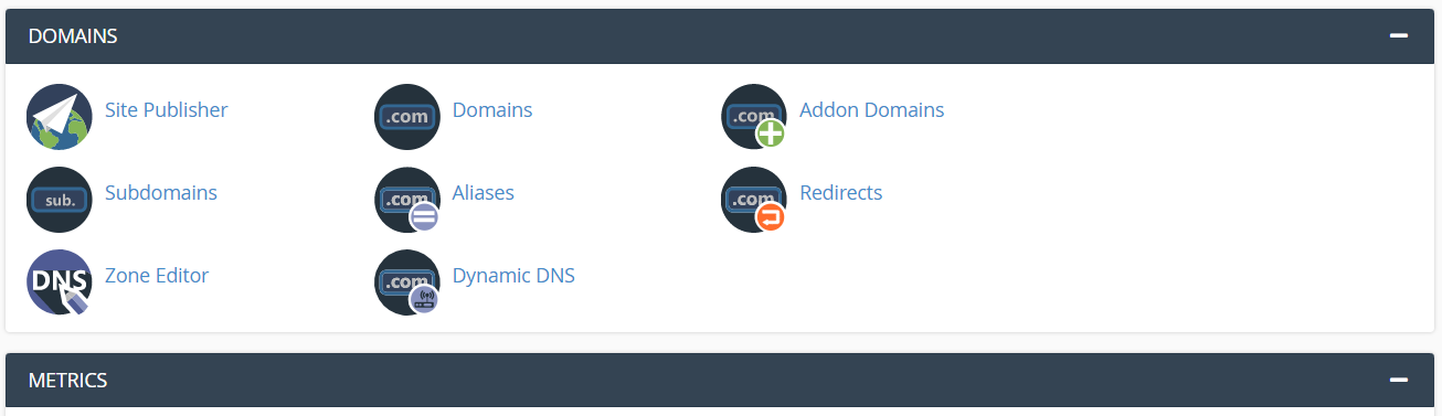 Domains section in the cPanel