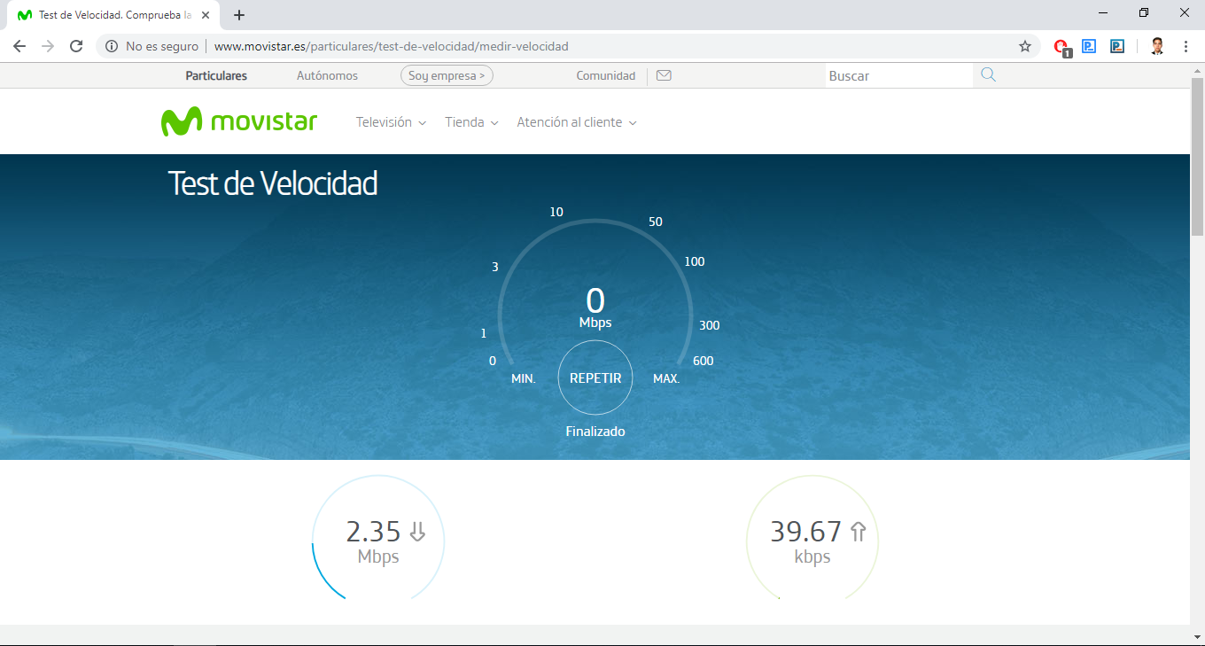 Speed test to measure the internet and WiFi in Movistar.