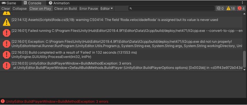 [RESOLVIDO] Unity 2019.4.9f1 - Erro ao criar o APK  Tela-1