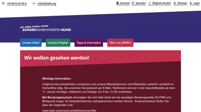 Webseite www.bsbh.org