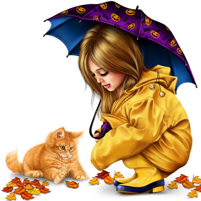 little girl in raincoat with a kitty png 647ab8ea7274c71fb.png