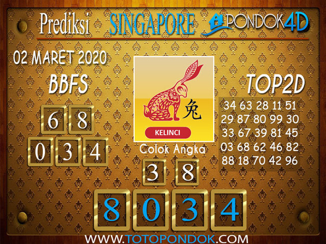 Prediksi Togel SINGAPORE PONDOK4D 02 MARET 2020