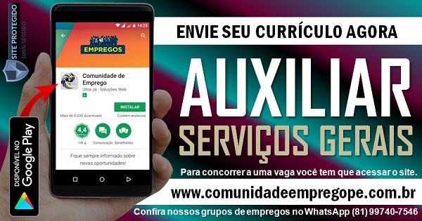 AUXILIAR DE SERVIÇOS GERAIS COM SALÁRIO R$ 1200,00 PARA PESSOA COM DEFICIÊNCIA