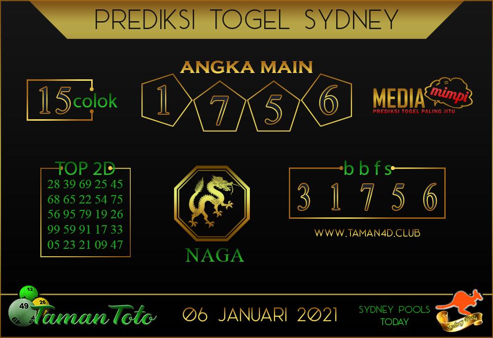 Prediksi Togel SYDNEY TAMAN TOTO 06 JANUARI 2021