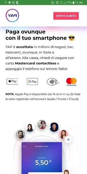 YAP L'App gratuita che ti restituisce denaro! CASHBACK RESTITUZIONE DENARO SU USO CONTO! Yap-Paga-Ovunque-1r