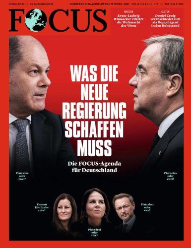 Cover: Focus Nachrichtenmagazin No 39 vom 25  September 2021