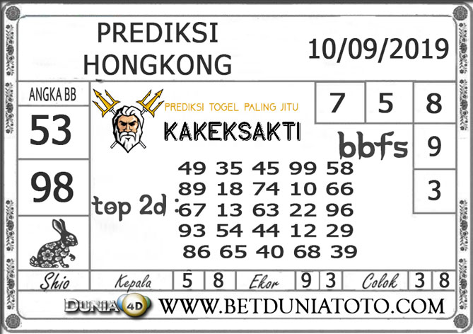 "Prediksi Togel ""HONGKONG"" DUNIA4D 10 SEPTEMBER 2019"