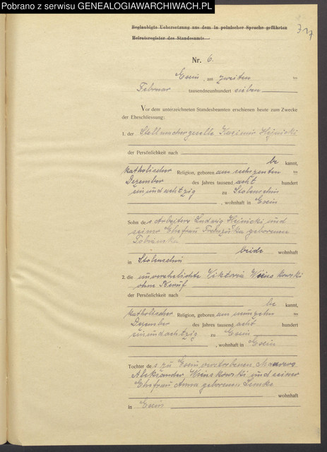 1907-02-02-Kcynia-lub-USC-Kazimierz-Hejnicki-Wiktoria-Wi-ckowska-R-Ludwik-c1