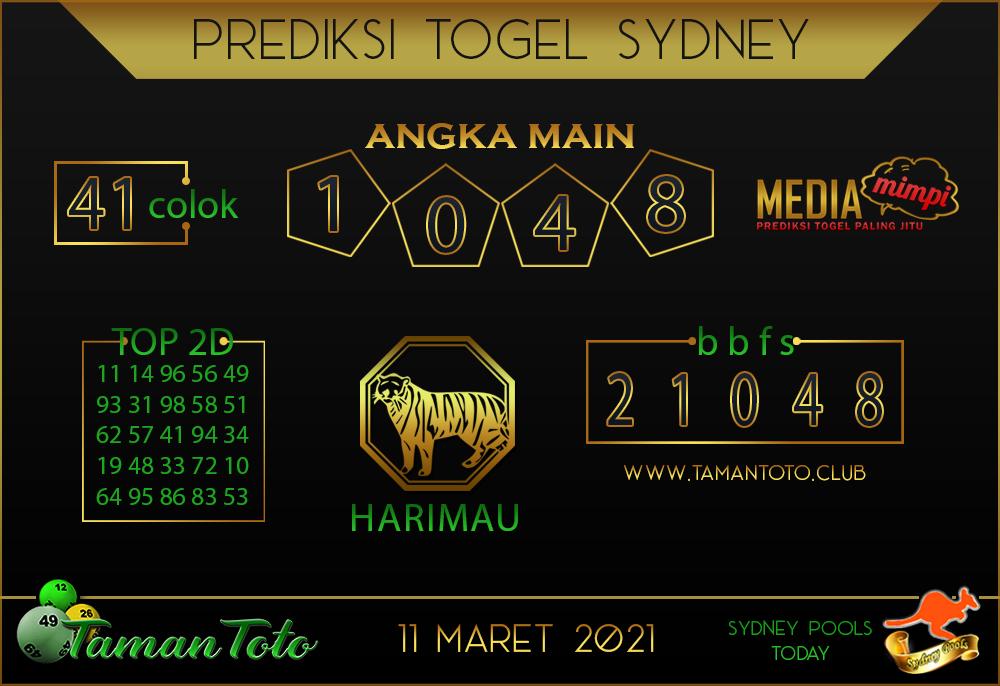 Prediksi Togel SYDNEY TAMAN TOTO 11 MARET 2021