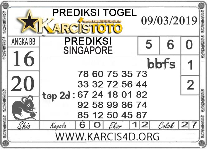 Prediksi Togel SINGAPORE KARCISTOTO 09 MARET 2019