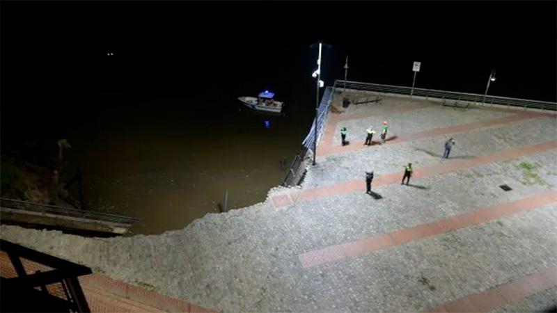 (VIDEO): En Rosario se derrumbó parte del parque España en la costanera
