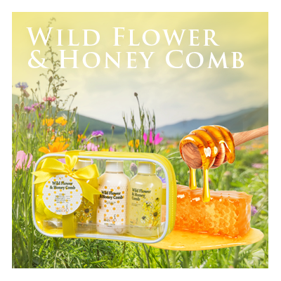 Bath Body and Spa Gift Set Travel Bag in Wild Flower and Honey Comb Fragrance Perfect for Women