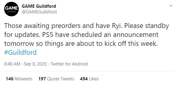 英國遊戲零售商GAME的吉爾福德分部發推:「PS5計劃在明天公佈一個消息」,目前這條推特已被刪除。 Image