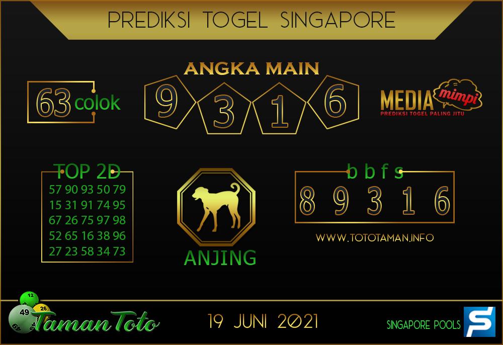 Prediksi Togel SINGAPORE TAMAN TOTO 19 JUNI 2021
