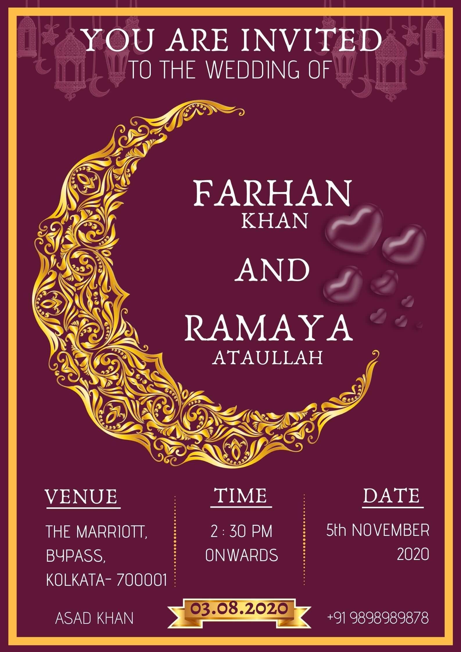 New Designs 2021 Muslim Wedding Invitation Designs