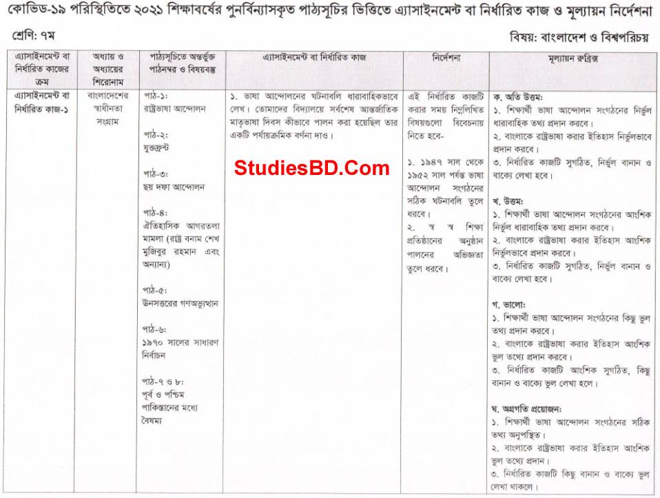 Class Seven 2nd Week Bangladesh And Global Studies 1st Assignment Question
