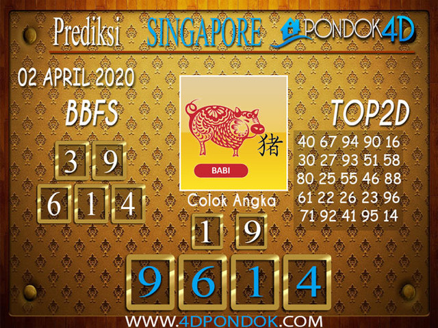 Prediksi Togel SINGAPORE PONDOK4D 02 APRIL  2020
