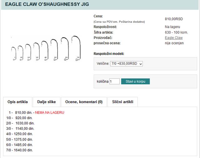 EAGLE CLAW O SHAUGHNESSY JIG