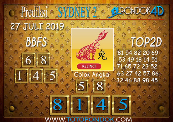 Prediksi Togel SYDNEY 2 PONDOK4D 27 JULI 2019