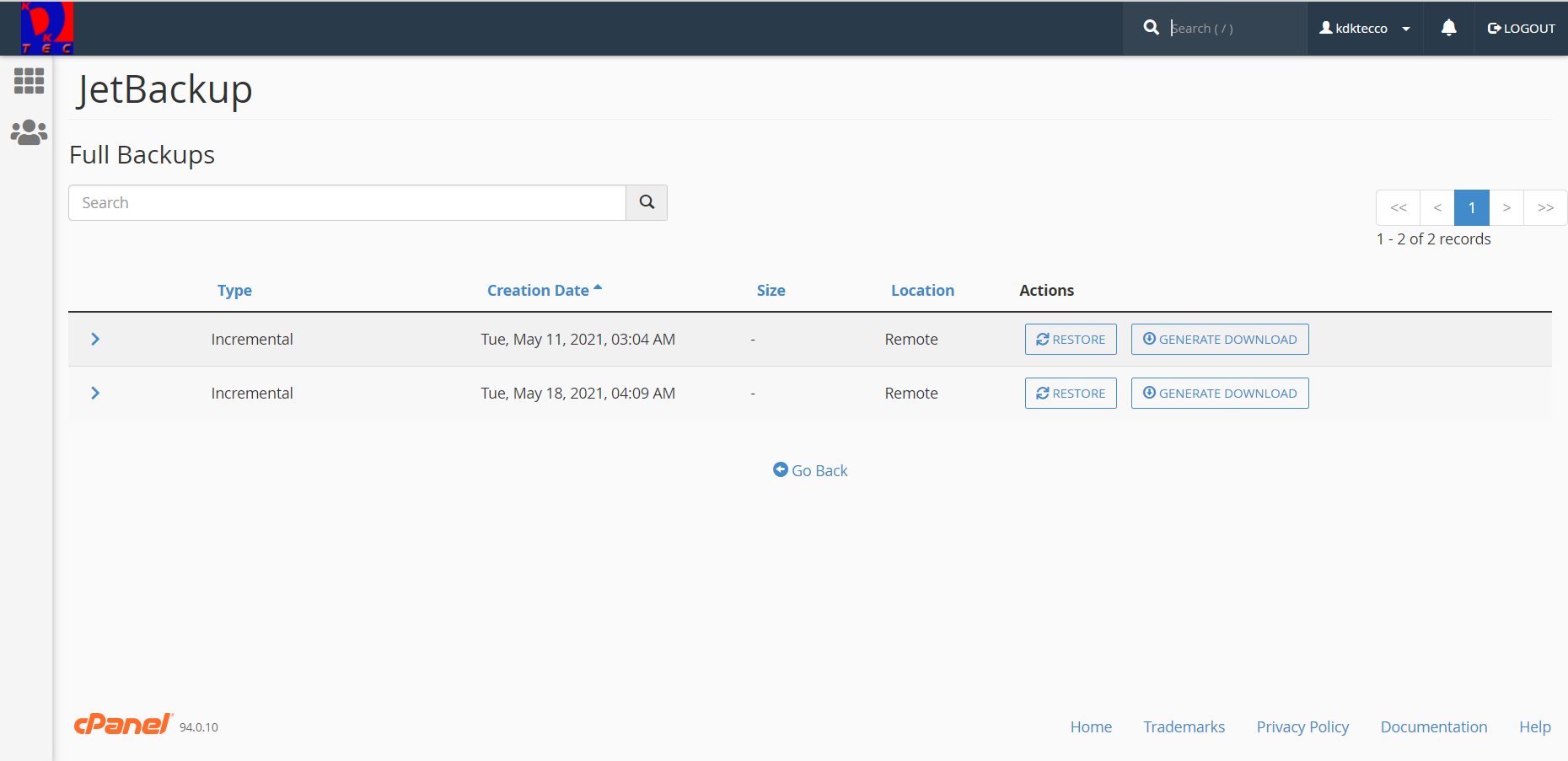 Available backup list section of JetBackup dashboard